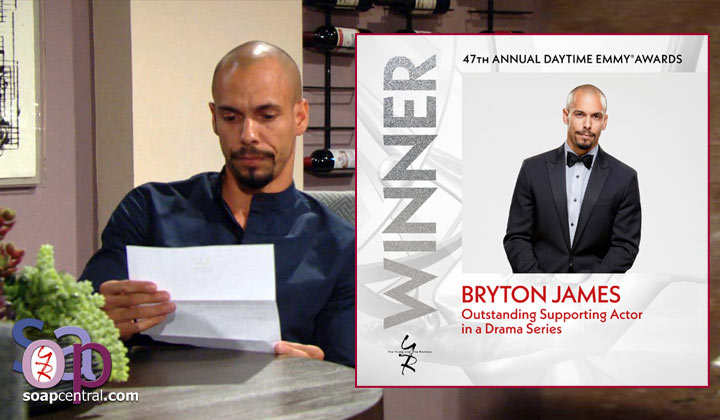Y&R's Bryton James talks his Emmy win, sharing the statue with Brytni Sarpy